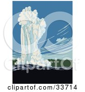 Clipart Illustration Of Old Faithful In Action Yellowstone National Park Wyoming
