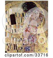 Clipart Illustration Of An Abstract Couple Kissing And Embracing Original Titled The Kiss By Gustav Klimt by JVPD #COLLC33716-0002