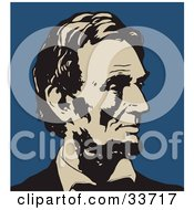 Clipart Illustration Of Abraham Lincoln In Profile In Black And Beige Over A Blue Background by JVPD