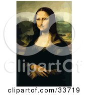 Clipart Illustration Of A Lady Posing With Her Wrists Crossed Original Titled Mona Lisa By Leonardo Da Vinci