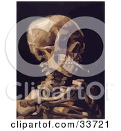 Clipart Illustration Of A Skeleton Smoking A Cigarette Over A Black Background Original By Vincent Van Gogh