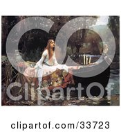 Clipart Illustration Of A Lady In A Boat On A Pond Original Titled The Lady Of Shalott By John William Waterhouse by JVPD