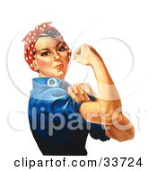 Clipart Illustration Of A Tough Lady Rosie The Riveter Flexing Her Bicep Original By J Howard Miller by JVPD #COLLC33724-0002