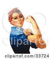 Tough Lady Rosie The Riveter Flexing Her Bicep Original By J Howard Miller
