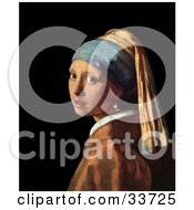 Clipart Illustration Of A Pretty Lady Looking Over Her Shoulder Original Titled Girl With A Pearl Earring By Johannes Vermeer by JVPD