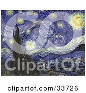 Clipart Illustration Of The Starry Night Original By Vincent Van Gogh by Jamers #COLLC33726-0013