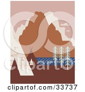 Clipart Illustration Of Rock Art And Tipis On A River Bank Close To Mountains In Montana