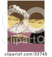 Clipart Illustration Of A Volcano Exploding By Manzanita Lake In Lassen Volcanic National Park California