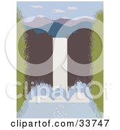 Clipart Illustration Of A Large Waterfall With Water Rushing Over A Cliff Mountains In The Distance