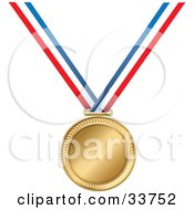 Clipart Illustration Of A Golden Medal On A Red White And Blue Ribbon