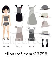 Clipart Illustration Of A Caucasian Girl A Paper Doll With Shoes Hats And Dresses by Melisende Vector