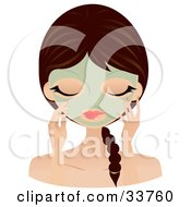 Clipart Illustration Of A Relaxed Caucasian Woman With Her Hair In A Braid Touching The Green Seaweed Mask On Her Face