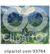 Clipart Illustration Of Lush Olive Trees Original Titled The Olive Trees By Vincent Van Gogh