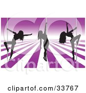 Clipart Illustration Of Three Sexy Black Silhouetted Female Pole Dancers On A Purple And White Stage In A Strip Club by KJ Pargeter