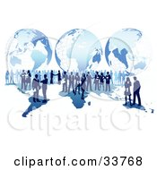 Business Men And Women Conducting Global Business Over A Blue Map With A Grid Globe Background Over White