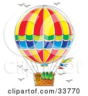 Bags And A Ladder Hanging Out Of The Basket On A Hot Air Balloon Birds Flying In The Sky