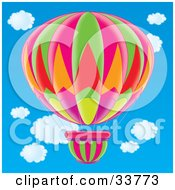 Clipart Illustration Of A Colorful Pink Green Orange Red Pink Purple And Yellow Hot Air Balloon by Alex Bannykh
