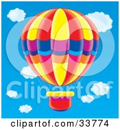 Clipart Illustration Of A Colorful Red Yellow Blue Purple Pink And Orange Hot Air Balloon by Alex Bannykh