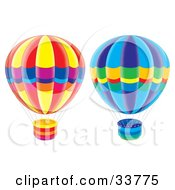 Two Hot Air Balloons On A White Background