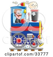 Clipart Illustration Of A Happy Male Train Driver Operating His Blue Train by Alex Bannykh