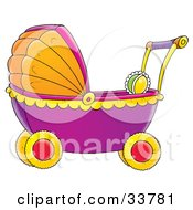 Clipart Illustration Of A Rattle In A Purple Orange And Yellow Baby Carriage by Alex Bannykh