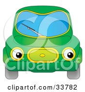 Clipart Illustration Of A Green Car With Eye Headlights by Alex Bannykh