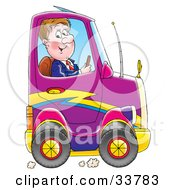 Clipart Illustration Of A Business Man Driving A Compact Purple Car