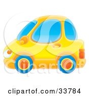 Clipart Illustration Of A Yellow Compact Car With Blue Tires by Alex Bannykh