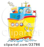 Male Captain Steering A Boat On The Sea
