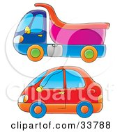 Clipart Illustration Of A Blue And Pink Dump Truck And A Red Car by Alex Bannykh