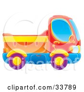 Clipart Illustration Of A Red Blue Purple Orange And Yellow Dump Truck by Alex Bannykh