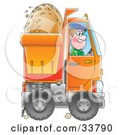 Clipart Illustration Of A Happy Man Driving A Dump Truck With Dirt In The Back by Alex Bannykh