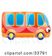 Clipart Illustration Of A Red And Orange Bus With Eye Headlights