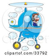 Clipart Illustration Of A Male Pilot Flying A Blue Helicopter In A Cloudy Sky