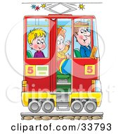 Clipart Illustration Of A Man And Two Boys In A Rail Car
