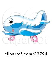 Clipart Illustration Of A Cute Blue And White Airplane Character With Pink Wheels
