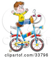 Clipart Illustration Of A Little Boy Doing Tricks On A Big Bike by Alex Bannykh