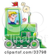 Clipart Illustration Of A Happy Farmer Operating A Green Tractor With Tracks