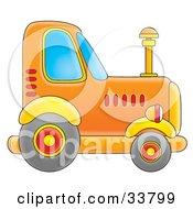 Clipart Illustration Of An Orange Big Rig Truck