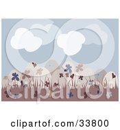 Clipart Illustration Of A Group Of Beige Floral Patterned Easter Eggs In Pink Grass Under A Cloudy Blue Sky by suzib_100