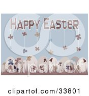 Floral Patterned Easter Eggs In Pink Grass Over A Blue Background With Flowers Hanging From Happy Easter Text