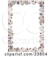 White Stationery Background Bordered By Beige Floral Patterned Easter Eggs