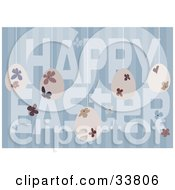 Floral Eggs Suspended Over A Blue Striped Background With Happy Easter Text
