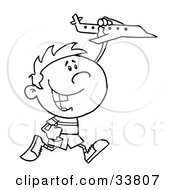 Clipart Illustration Of A Black And White Outline Of A Boy Running And Playing With A Toy Airplane