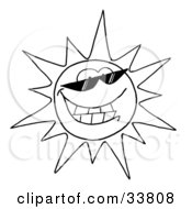 Clipart Illustration Of A Black And White Outline Of A Cool Sun Character Wearing Shades And Smiling