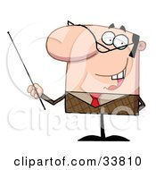 Clipart Illustration Of A Manager Or Professor In A Brown Suit And Red Tie Gesturing With A Pointer Stick