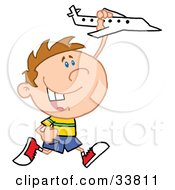 Clipart Illustration Of A Happy Caucasian Boy Running And Playing With A Toy Airplane