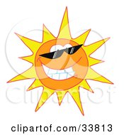 Clipart Illustration Of A Cool And Bright Sun Character Wearing Shades And Smiling by Hit Toon