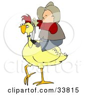 Western Cowboy Riding On A Yellow Chicken