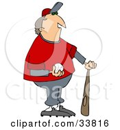 Clipart Illustration Of A Chubby Male Coach In A Gray And Red Uniform Standing With A Bat And Baseball by djart